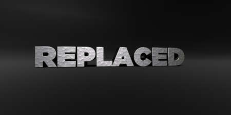 replaced: REPLACED - hammered metal finish text on black studio - 3D rendered royalty free stock photo. This image can be used for an online website banner ad or a print postcard.