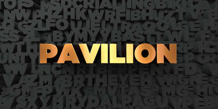 pavilion: Pavilion - Gold text on black background - 3D rendered royalty free stock picture. This image can be used for an online website banner ad or a print postcard.