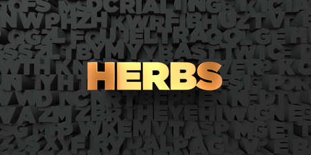 Herbs - Gold text on black background - 3D rendered royalty free stock picture. This image can be used for an online website banner ad or a print postcard. Stock Photo