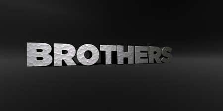 BROTHERS - hammered metal finish text on black studio - 3D rendered royalty free stock photo. This image can be used for an online website banner ad or a print postcard.