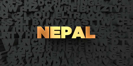 Nepal - Gold text on black background - 3D rendered royalty free stock picture. This image can be used for an online website banner ad or a print postcard.