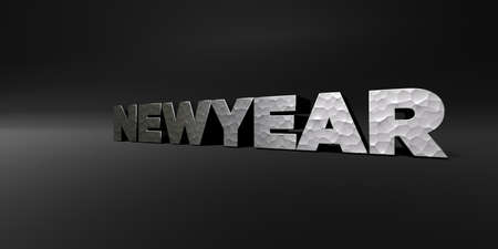 newyear: NEWYEAR - hammered metal finish text on black studio - 3D rendered royalty free stock photo. This image can be used for an online website banner ad or a print postcard. Stock Photo