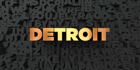 detroit: Detroit - Gold text on black background - 3D rendered royalty free stock picture. This image can be used for an online website banner ad or a print postcard.