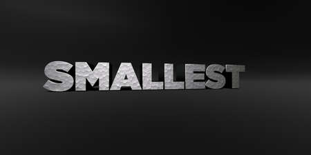 smallest: SMALLEST - hammered metal finish text on black studio - 3D rendered royalty free stock photo. This image can be used for an online website banner ad or a print postcard.