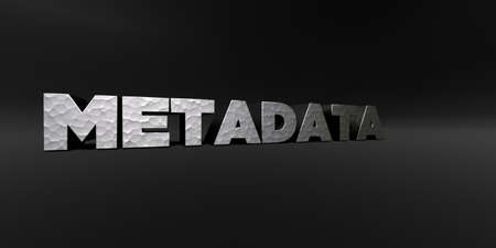 metadata: METADATA - hammered metal finish text on black studio - 3D rendered royalty free stock photo. This image can be used for an online website banner ad or a print postcard. Stock Photo