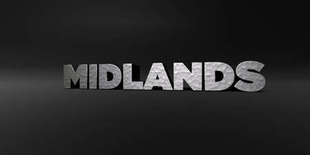 MIDLANDS - hammered metal finish text on black studio - 3D rendered royalty free stock photo. This image can be used for an online website banner ad or a print postcard.
