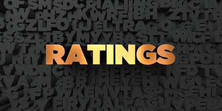 ratings: Ratings - Gold text on black background - 3D rendered royalty free stock picture. This image can be used for an online website banner ad or a print postcard.