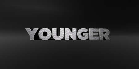 younger: YOUNGER - hammered metal finish text on black studio - 3D rendered royalty free stock photo. This image can be used for an online website banner ad or a print postcard.