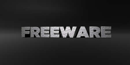 freeware: FREEWARE - hammered metal finish text on black studio - 3D rendered royalty free stock photo. This image can be used for an online website banner ad or a print postcard. Stock Photo