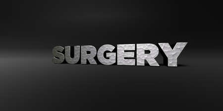 SURGERY - hammered metal finish text on black studio - 3D rendered royalty free stock photo. This image can be used for an online website banner ad or a print postcard.