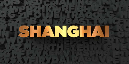 Shanghai - Gold text on black background - 3D rendered royalty free stock picture. This image can be used for an online website banner ad or a print postcard.