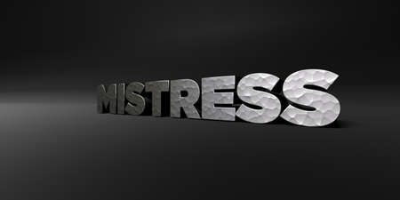 mistress: MISTRESS - hammered metal finish text on black studio - 3D rendered royalty free stock photo. This image can be used for an online website banner ad or a print postcard.