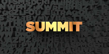 Summit - Gold text on black background - 3D rendered royalty free stock picture. This image can be used for an online website banner ad or a print postcard. Banco de Imagens