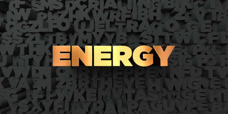energy picture: Energy - Gold text on black background - 3D rendered royalty free stock picture. This image can be used for an online website banner ad or a print postcard. Stock Photo