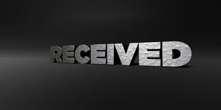 received: RECEIVED - hammered metal finish text on black studio - 3D rendered royalty free stock photo. This image can be used for an online website banner ad or a print postcard. Stock Photo