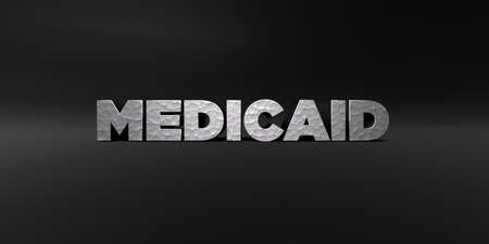 medicaid: MEDICAID - hammered metal finish text on black studio - 3D rendered royalty free stock photo. This image can be used for an online website banner ad or a print postcard.