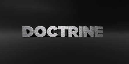 doctrine: DOCTRINE - hammered metal finish text on black studio - 3D rendered royalty free stock photo. This image can be used for an online website banner ad or a print postcard. Stock Photo