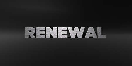 renewal: RENEWAL - hammered metal finish text on black studio - 3D rendered royalty free stock photo. This image can be used for an online website banner ad or a print postcard.