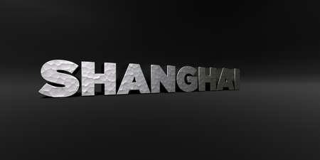 SHANGHAI - hammered metal finish text on black studio - 3D rendered royalty free stock photo. This image can be used for an online website banner ad or a print postcard. Фото со стока