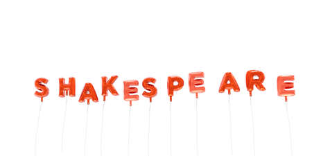 shakespeare: SHAKESPEARE - word made from red foil balloons - 3D rendered.  Can be used for an online banner ad or a print postcard. Stock Photo