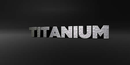 TITANIUM - hammered metal finish text on black studio - 3D rendered royalty free stock photo. This image can be used for an online website banner ad or a print postcard.