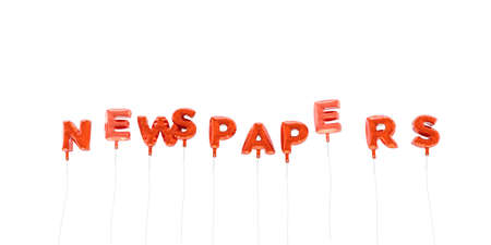NEWSPAPERS - word made from red foil balloons - 3D rendered.  Can be used for an online banner ad or a print postcard.