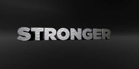 STRONGER - hammered metal finish text on black studio - 3D rendered royalty free stock photo. This image can be used for an online website banner ad or a print postcard. Stock Photo