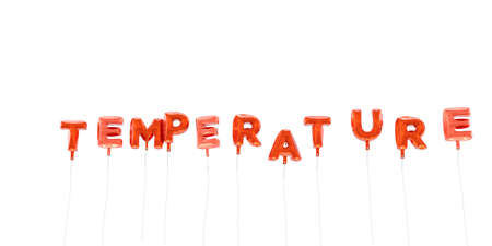 TEMPERATURE - word made from red foil balloons - 3D rendered.  Can be used for an online banner ad or a print postcard.