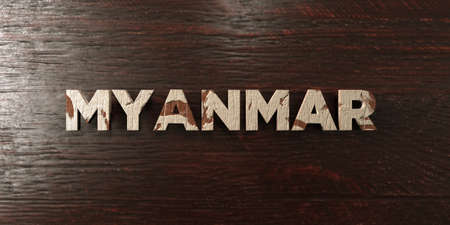 Myanmar - grungy wooden headline on Maple  - 3D rendered royalty free stock image. This image can be used for an online website banner ad or a print postcard.