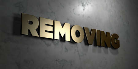 removing: Removing - Gold sign mounted on glossy marble wall  - 3D rendered royalty free stock illustration. This image can be used for an online website banner ad or a print postcard.