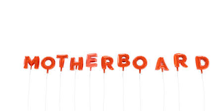 red balloons: MOTHERBOARD - word made from red foil balloons - 3D rendered.  Can be used for an online banner ad or a print postcard. Stock Photo