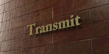 transmit: Transmit - Bronze plaque mounted on maple wood wall  - 3D rendered royalty free stock picture. This image can be used for an online website banner ad or a print postcard.