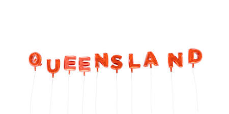 queensland: QUEENSLAND - word made from red foil balloons - 3D rendered.  Can be used for an online banner ad or a print postcard.