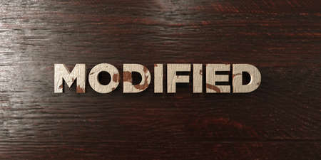 modified: Modified - grungy wooden headline on Maple  - 3D rendered royalty free stock image. This image can be used for an online website banner ad or a print postcard.