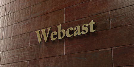 webcast: Webcast - Bronze plaque mounted on maple wood wall  - 3D rendered royalty free stock picture. This image can be used for an online website banner ad or a print postcard.