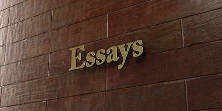 essays: Essays - Bronze plaque mounted on maple wood wall  - 3D rendered royalty free stock picture. This image can be used for an online website banner ad or a print postcard.