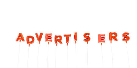 advertisers: ADVERTISERS - word made from red foil balloons - 3D rendered.  Can be used for an online banner ad or a print postcard.
