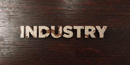 Industry - grungy wooden headline on Maple  - 3D rendered royalty free stock image. This image can be used for an online website banner ad or a print postcard.