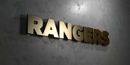 Rangers - Gold sign mounted on glossy marble wall  - 3D rendered royalty free stock illustration. This image can be used for an online website banner ad or a print postcard.