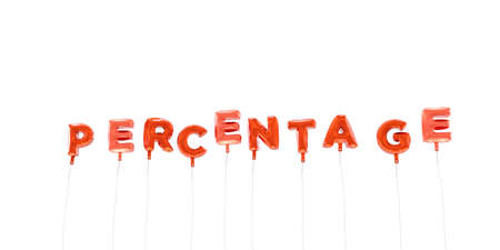 PERCENTAGE - word made from red foil balloons - 3D rendered.  Can be used for an online banner ad or a print postcard.