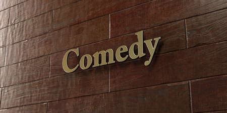 Comedy - Bronze plaque mounted on maple wood wall  - 3D rendered royalty free stock picture. This image can be used for an online website banner ad or a print postcard. Stock Photo