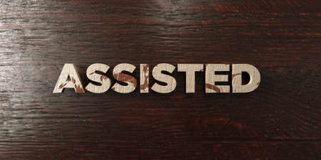 assisted: Assisted - grungy wooden headline on Maple  - 3D rendered royalty free stock image. This image can be used for an online website banner ad or a print postcard. Stock Photo