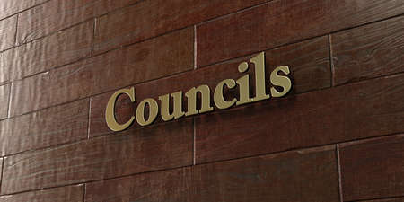 councils: Councils - Bronze plaque mounted on maple wood wall  - 3D rendered royalty free stock picture. This image can be used for an online website banner ad or a print postcard. Stock Photo