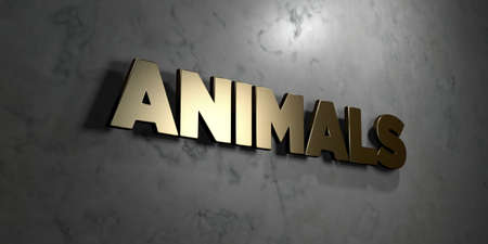 Animals - Gold sign mounted on glossy marble wall  - 3D rendered royalty free stock illustration. This image can be used for an online website banner ad or a print postcard. Stock Photo