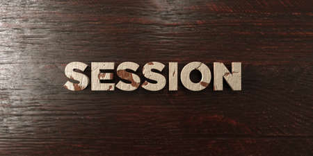 Session - grungy wooden headline on Maple  - 3D rendered royalty free stock image. This image can be used for an online website banner ad or a print postcard. Stok Fotoğraf - 67333412