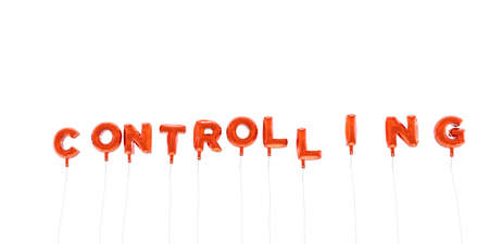controlling: CONTROLLING - word made from red foil balloons - 3D rendered.  Can be used for an online banner ad or a print postcard.