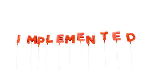IMPLEMENTED - word made from red foil balloons - 3D rendered.  Can be used for an online banner ad or a print postcard.