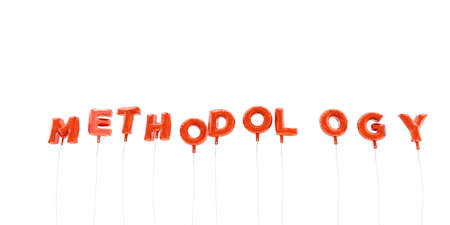 METHODOLOGY - word made from red foil balloons - 3D rendered.  Can be used for an online banner ad or a print postcard.