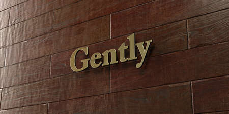 gently: Gently - Bronze plaque mounted on maple wood wall  - 3D rendered royalty free stock picture. This image can be used for an online website banner ad or a print postcard.