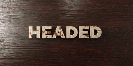 three headed: Headed - grungy wooden headline on Maple  - 3D rendered royalty free stock image. This image can be used for an online website banner ad or a print postcard.